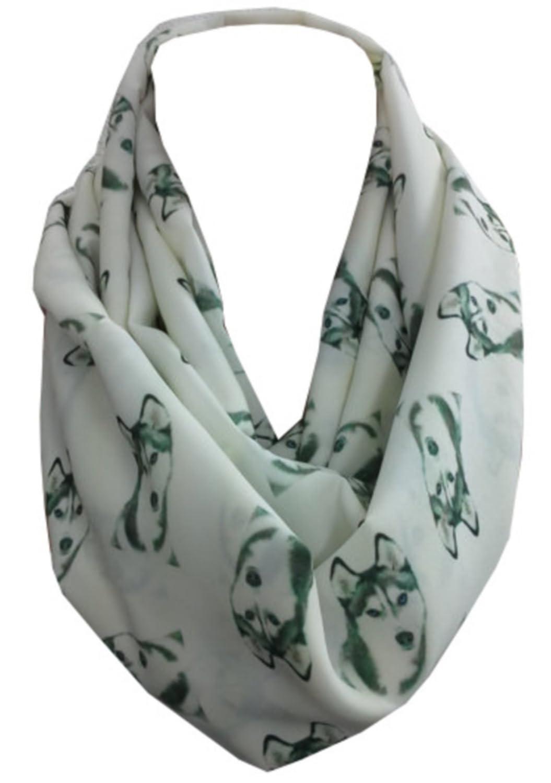 ScarfClub Womens Dog Print Scarf Siberian Husky Infinity Scarf