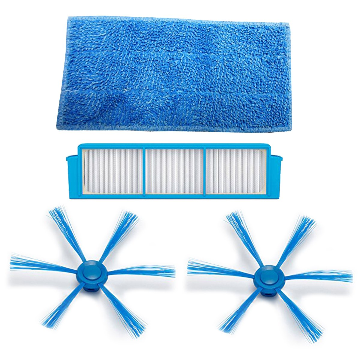 TeKeHom - Filtro HEPA: 1 cepillo lateral, 2 almohadillas húmedas para la ropa, 1 para aspiradora Philips SmartPro Easy Robot FC8796 FC8794 FC8792: ...