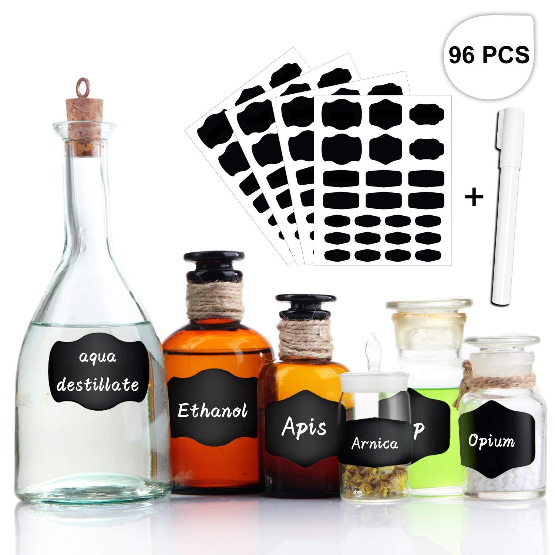 tronisky Étiquette Tableau Noir, 96 PCS Autocollants Tableau Noir Stickers Reusable Etiquettes de Cuisine pour Bouteilles, Verres, Épices et Bureau Organiser, avec Marqueurs Craie Liquide