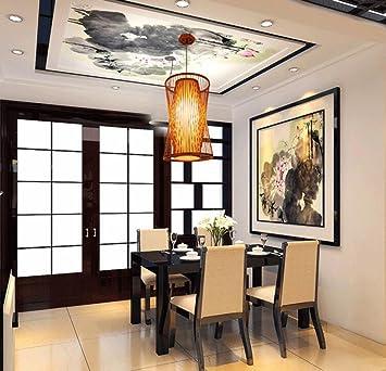LUCKY-CN Bambou Nouveau Lustre Chinois Simple Zen Fait Main Étude ...