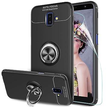 LeYi Compatible Funda con Samsung Galaxy J6 Plus 2018 con Anillo Soporte, 360 Grados Giratorio Ring Grip Gel TPU de Bumper Silicona Case Carcasa ...