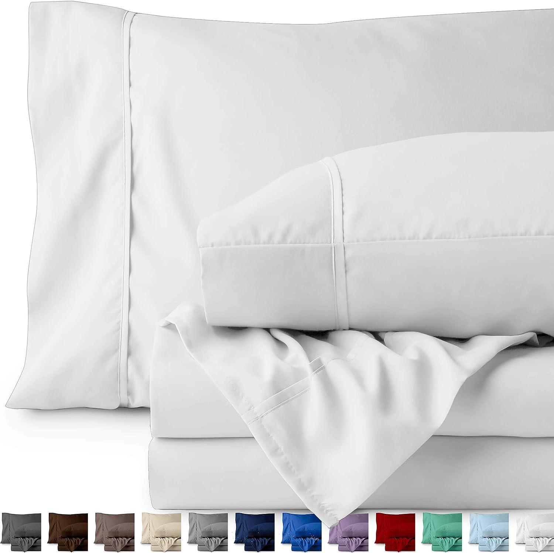 Bare Home Split California King Sheet Set - 1800 Ultra-Soft Microfiber Bed Sheets - Double Brushed Breathable Bedding - Hypoallergenic – Wrinkle Resistant - Deep Pocket (Split Cal King, White)
