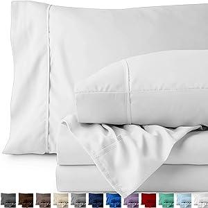 Bare Home King Sheet Set - 1800 Ultra-Soft Microfiber Bed Sheets - Double Brushed Breathable Bedding - Hypoallergenic – Wrinkle Resistant - Deep Pocket (King, White)