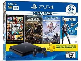 Paquete PlayStation 4 Slim 1 TB (Mega Pack) con 3 juegos (Horizon Zero Dawn, Days Gone, Grand Theft Auto V), FORTNITE...