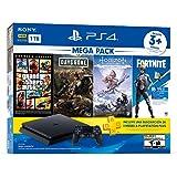 Paquete PlayStation 4 Slim 1 TB (Mega Pack) con 3 juegos (Horizon Zero Dawn, Days Gone, Grand Theft Auto V), FORTNITE…