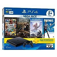 Paquete PlayStation 4 Slim 1 TB (Mega Pack) con 3 juegos (Horizon Zero Dawn, Days Gone, Grand Theft Auto V), FORTNITE Voucher y cupón de 3 meses para PS Plus - Bundle Edition