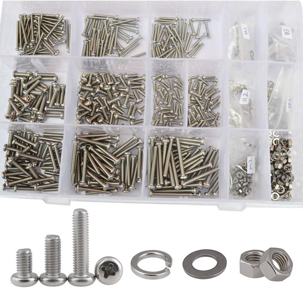 200pcs Machine Screws M3 x 8mm SEMS Phillips Pan Head Steel Zinc w// M3 NUTS USA