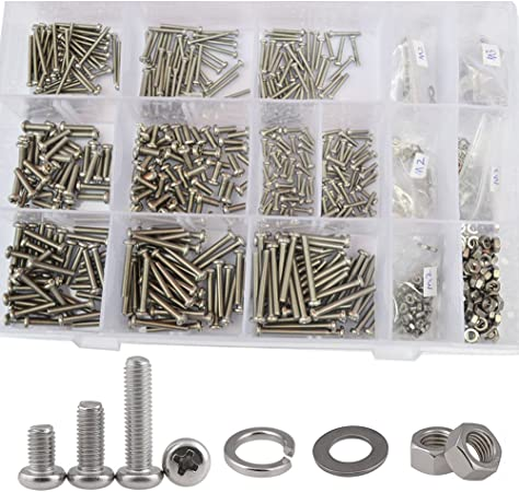 M4 Phillips screw kit Stainless Steel Flat Head bolt Cross assorted 60 Pcs