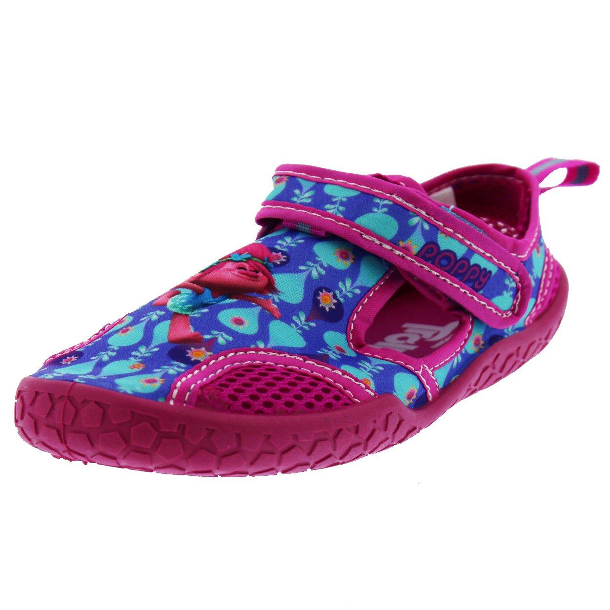 Favorite Characters Trolls Girls Aqua Socks Water Shoes (10 Toddler M, Poppy Fuchsia/Blue)