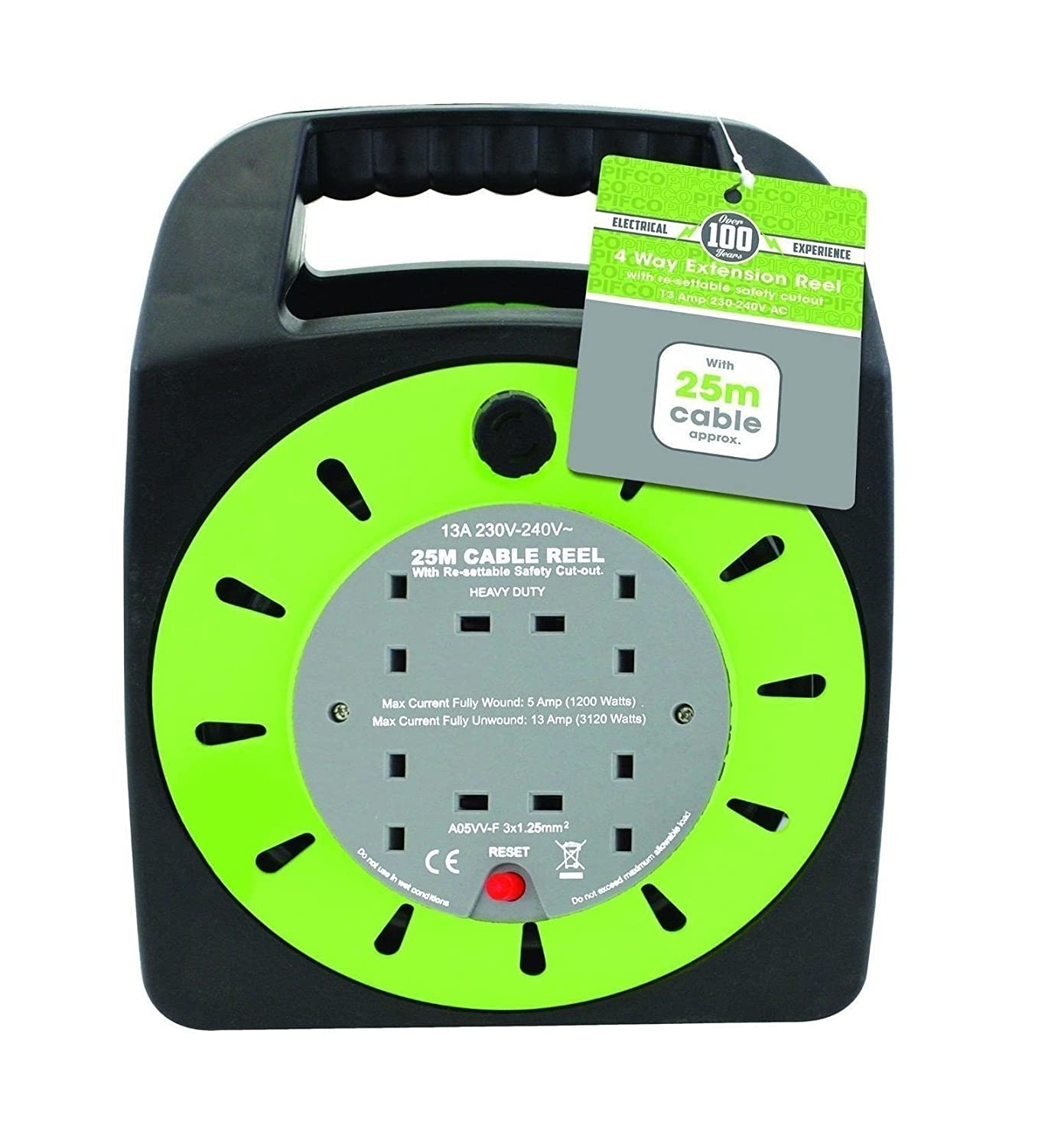 Invero/® 4 Way Mains Socket with 25M Metre Extension Lead Reel Cable Heavy Duty British Approved 13A ideal for Workshops Home Use DIY and more