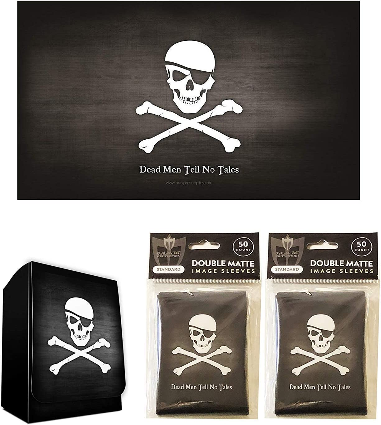 Pirate Jolly Roger Design Playmat + Deck Box + 100 Matching Double Matte Sleeves (fits Magic/MTG Cards) by MAX PRO [並行輸入品]