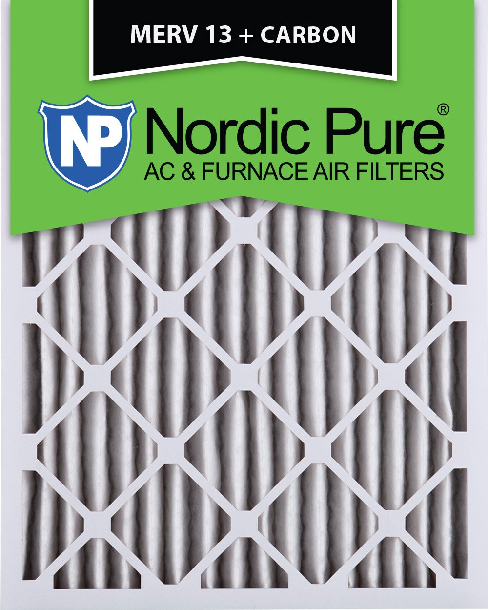 Nordic Pure 20x24x2 MERV 13 Plus Carbon Pleated AC Furnace Air Filters 3 Pack