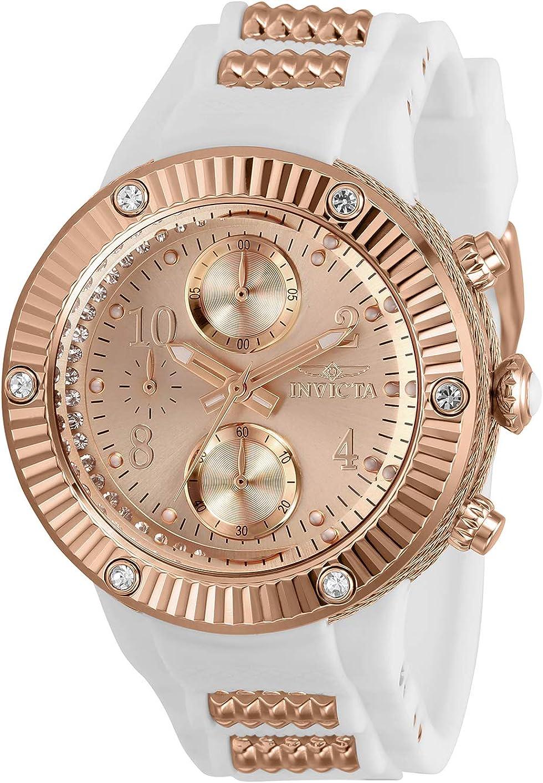Invicta Angel Chronograph Quartz Crystal Rose Gold Dial Ladies Watch 29516