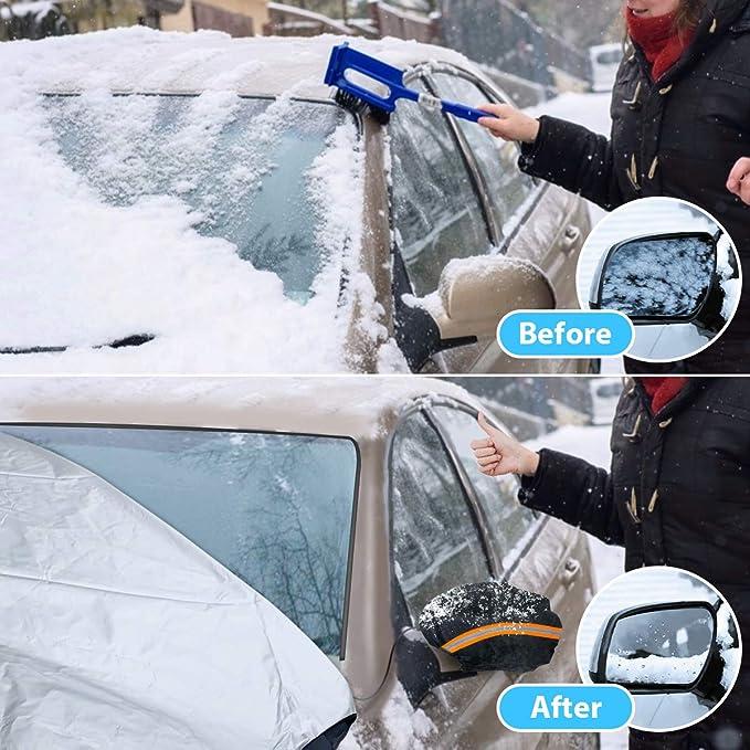 configuraci/ón r/ápida y Plegable protecci/ón contra Nieve Hojas ca/ídas 205 x 150 cm Cubierta de Nieve parasoles LFS Funda para Parabrisas de Coche con Cubierta de Espejo Hielo Helado