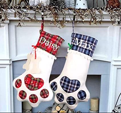 449c8f2154a Amazon.com  3D Personalized Embroidered Plaid Dog Paw Christmas Stocking ( Red Plaid-Dog)  Home   Kitchen