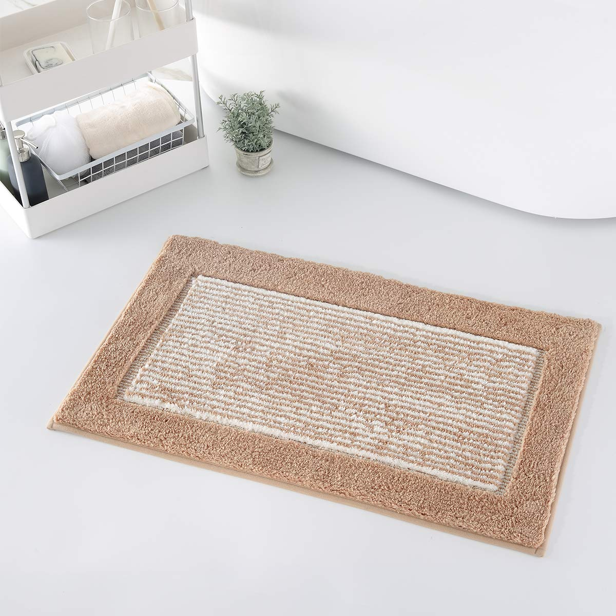 YUMEI Soft and Shaggy Bath Mats for Bathroom Non-Slip Machine-Washable Bath Rugs for Bedroom and Kitchen Super Absorbent Water Brown,20X32Inches