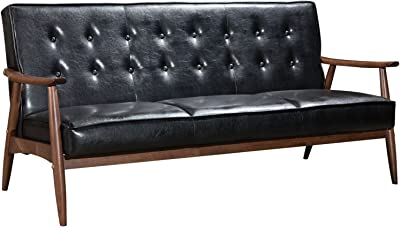 Modern Contemporary Urban Design Living Lounge Room Sofa, Black, Faux Leather