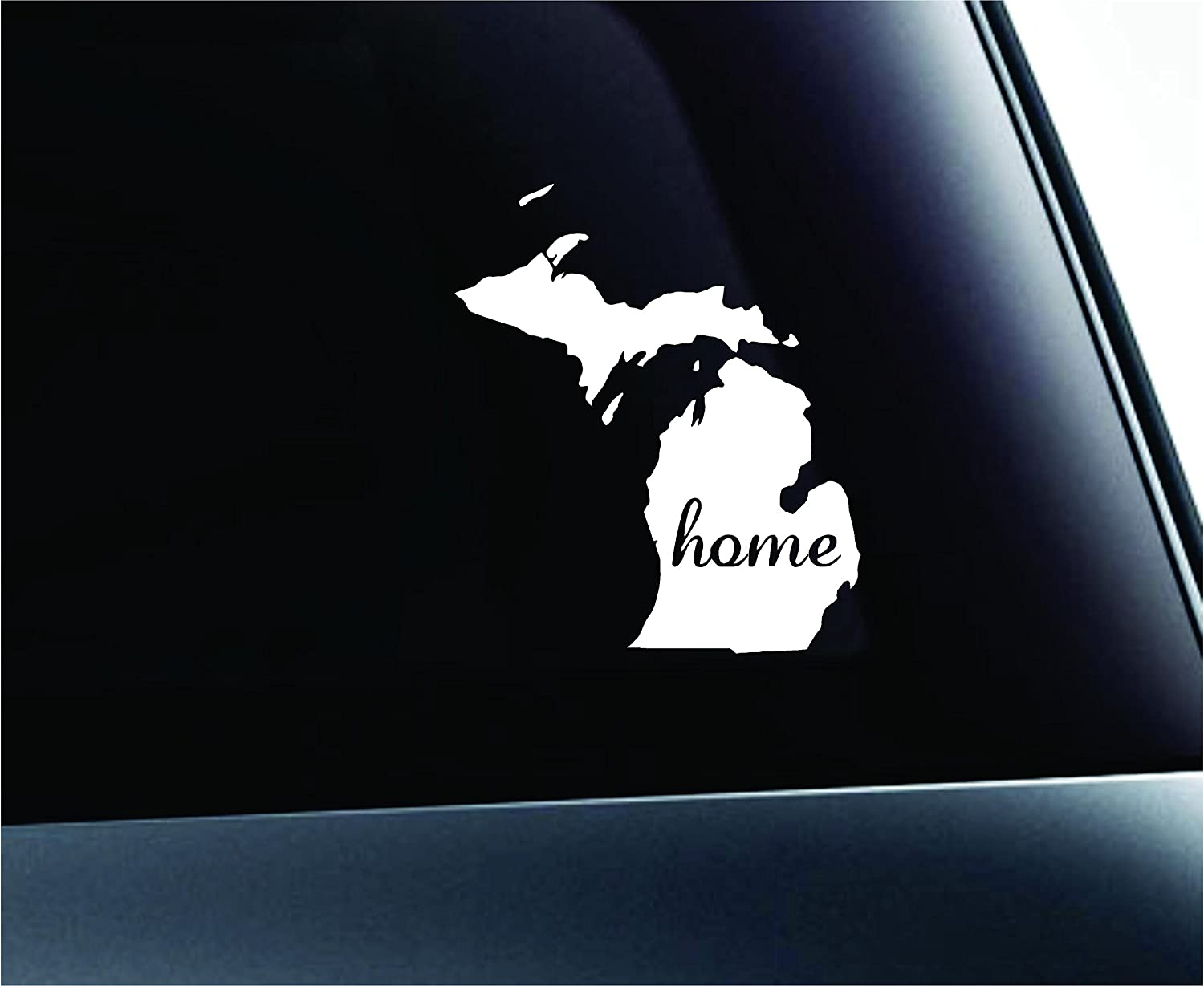 ExpressDecor Home State Michigan Symbol Decal Family Love Car Truck Sticker Window (White)