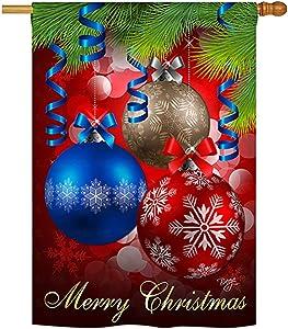 "Breeze Decor - Ornaments Winter - Seasonal Xmas Impressions Decorative Vertical House Flag 28"" x 40"""