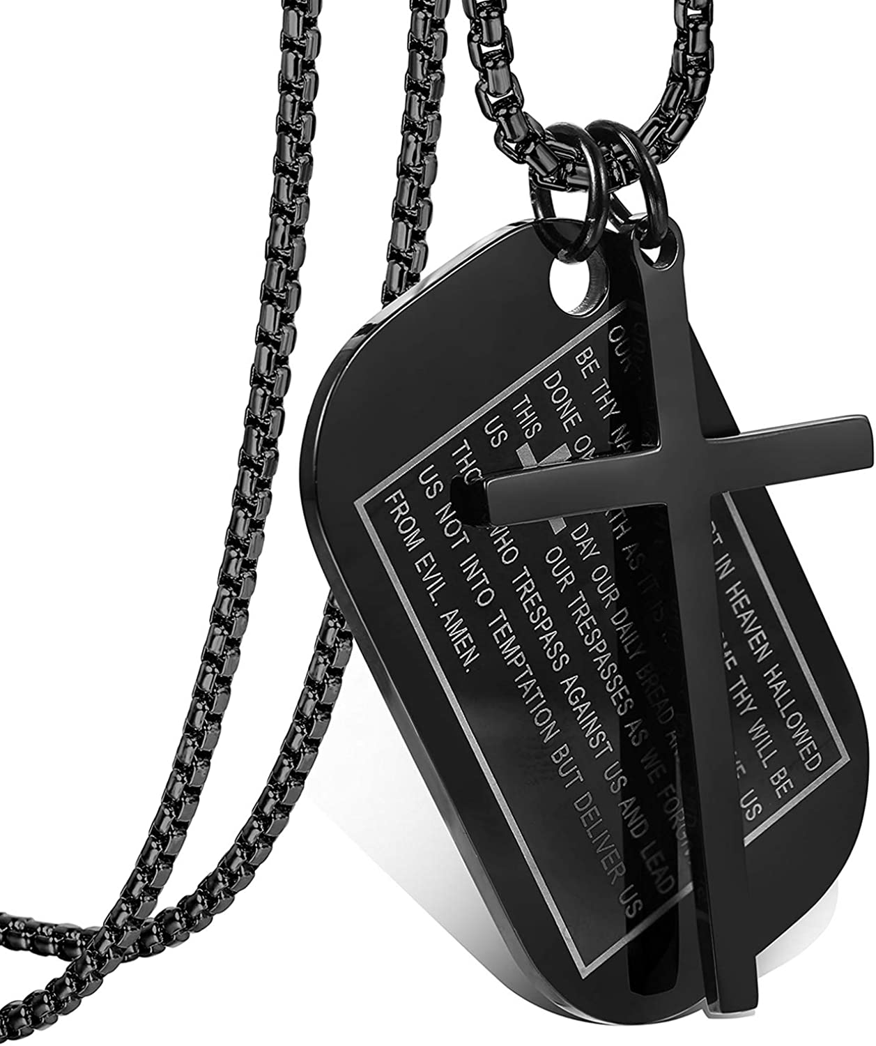 Cupimatch Men's English Bible Dog Tags Cross Prayer Pendant Necklaces, Stainless Steel Jesus Verse Lords Catholic Necklace Chain 24""