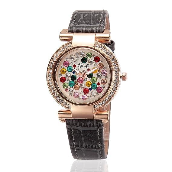 Yaki Reloj de Lujo pulsera Relojes Chica Mujer Rose Golde Carcasa Multicolor Esfera Strass piel gris