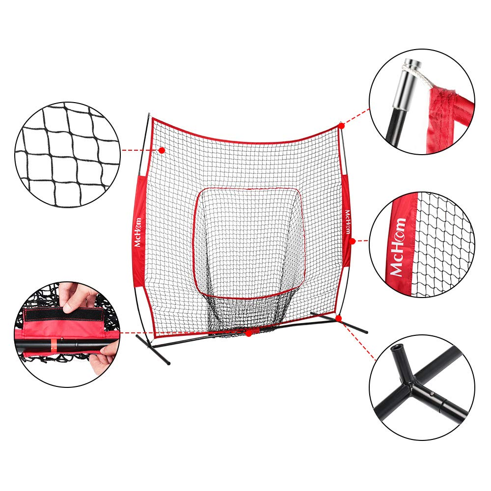 McHom 7 x 7 Baseball Softball Net Set with Travel Tee, 3 Weighted Balls, Strike Zone Carry Bag for Hitting Pitching Practice, Collapsible and Portable