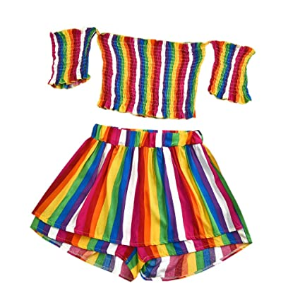 18d974cbf68 Women 2 Piece Outfit Set Rainbow Striped Off Shoulder Crop Top and Shorts  Set Navel Exposed
