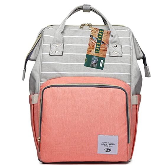 Quad Store Stripe Design Premium Baby Diaper Bag for mom dad Multi Functional Backpack Waterproof for Travel, Nursing, Nappy (26x20x42cm) (Coral)