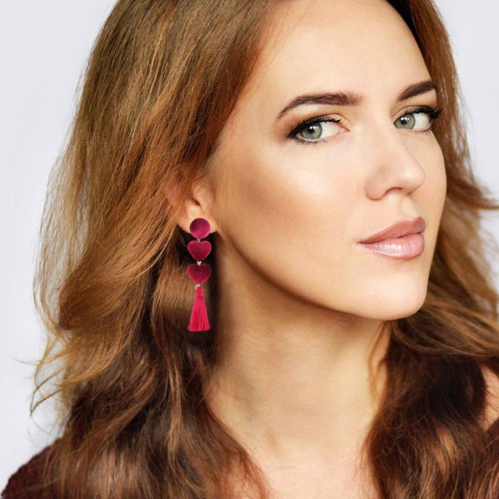LOCHING Fashion Heart Tassels Earrings Red Unique Charm Earrings for Women//Girl