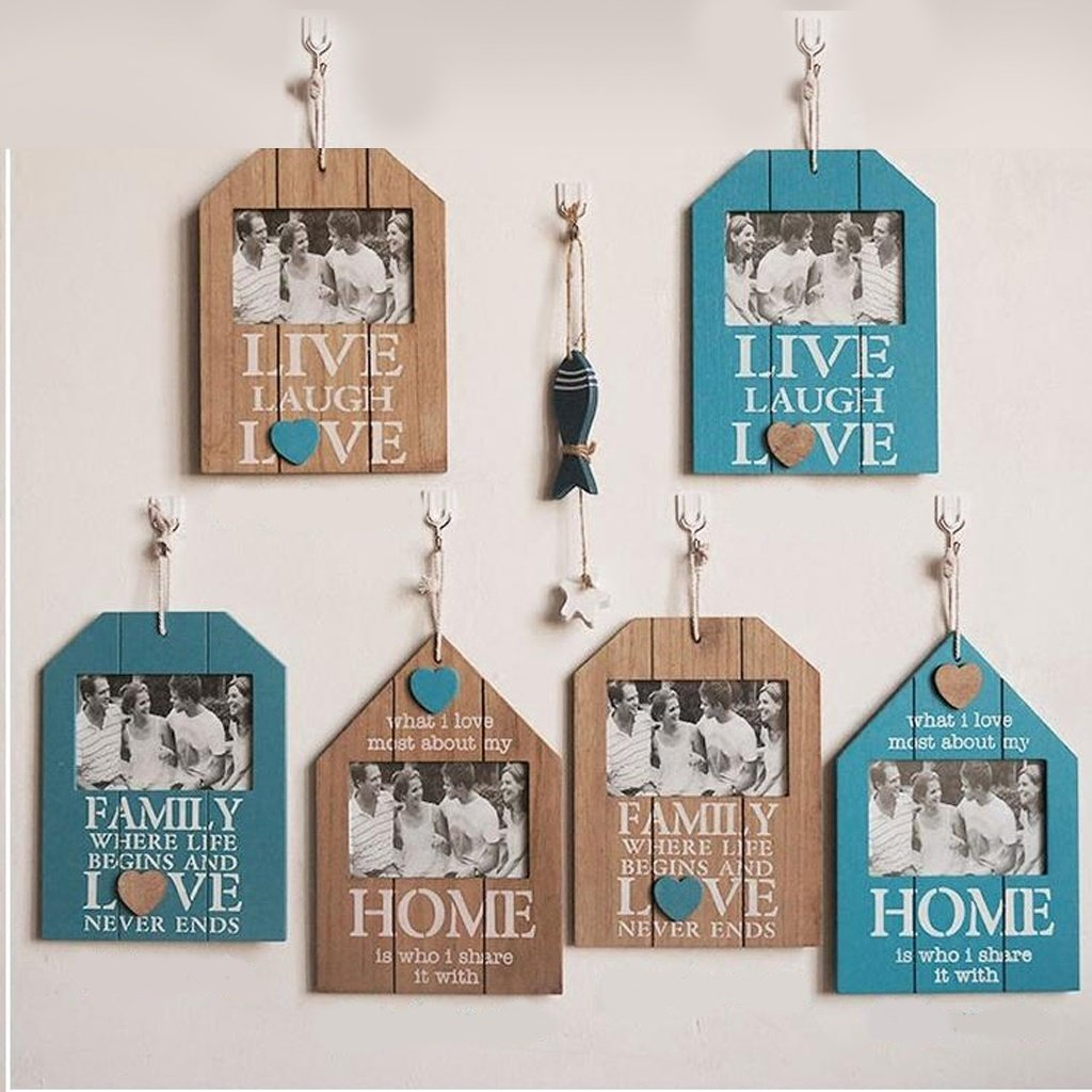 Qfgis 6 Multi Photo Frames Set Pine Wood Solid Wood Continental Style Photo Wall for Living Room/with Pictures -by Virtper US