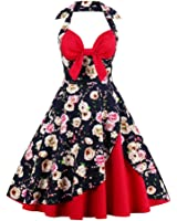 Summer Dress for Women Halter Patchwork Vintage Dress Plus Size Party Casual Dress Feminino Rockabilly Vestidos