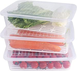 Newness Produce Saver Storage Container for Fridge, (3-Pack) Freezer Salad Container with Removable Drain Plate, Stackable Food Organizers to Keep Fruits, Meat, Vegetables and More (Large)
