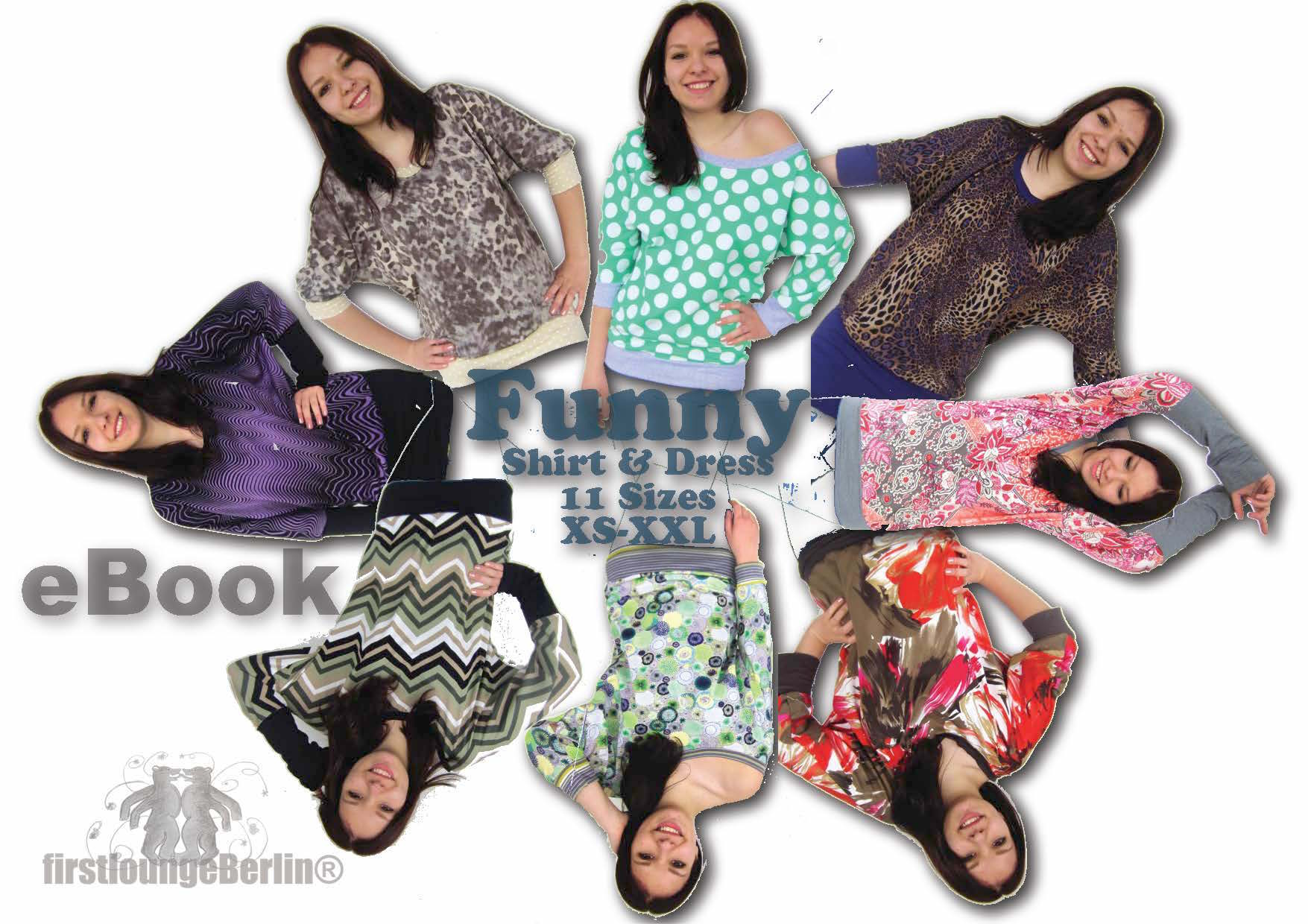 Funny Shirt & Dress with U-boat neckline, 11 sizes XS to XXL, instruction and pattern [Download]