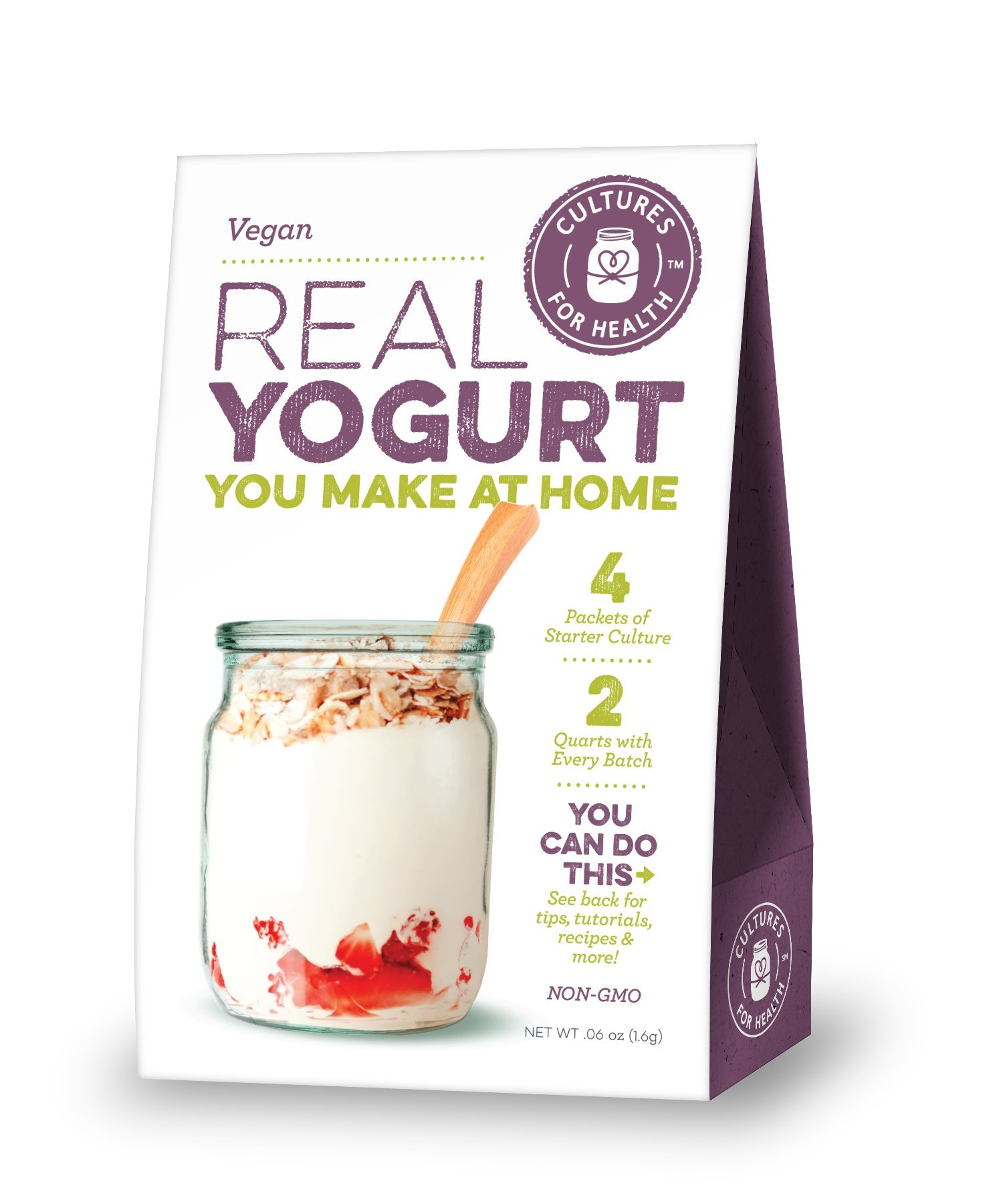 Cultures For Health Vegan Yogurt Starter | Make 4 delicious batches of nutrient-dense vegan yogurt | Non GMO, Gluten Free | 4 Sachets In A Box