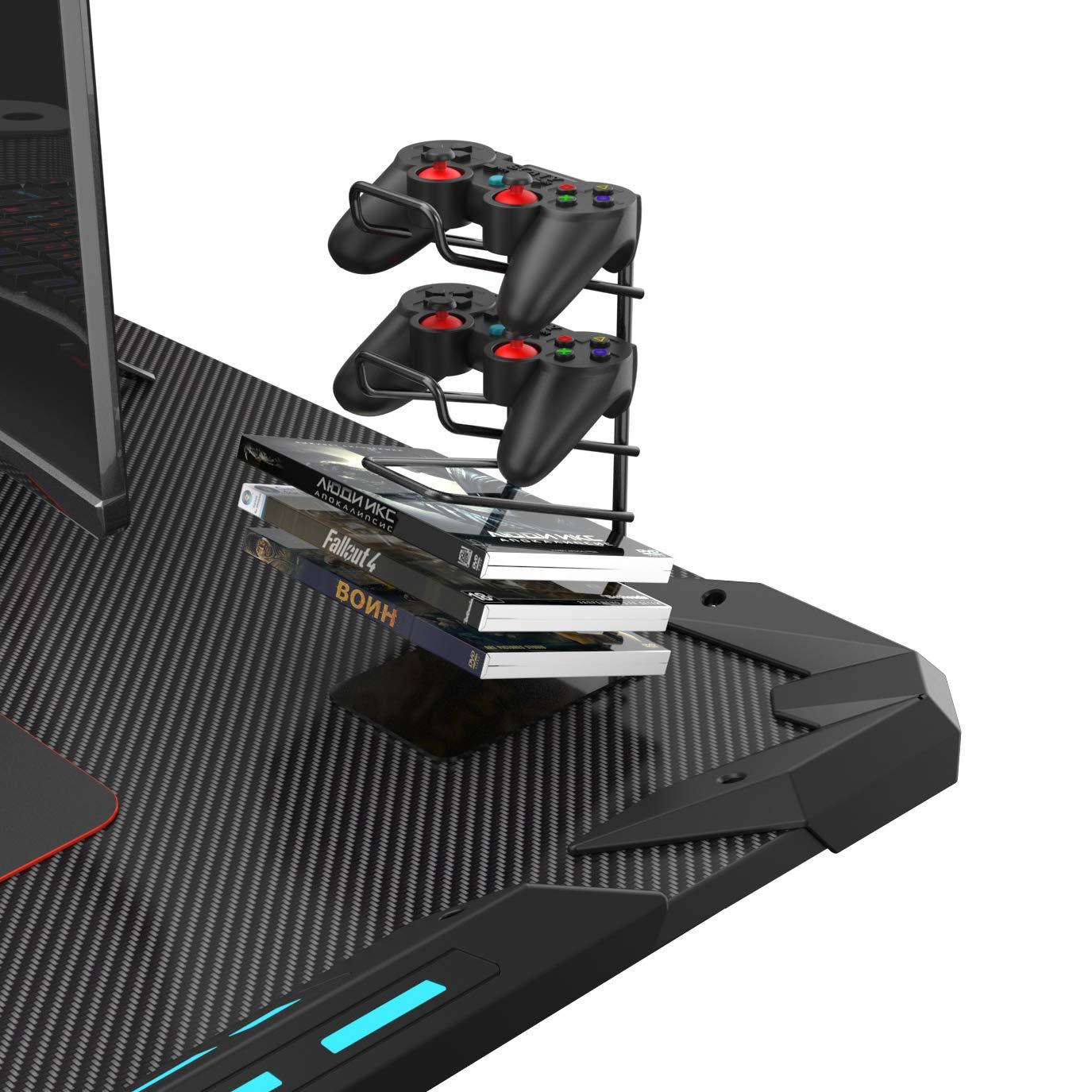 Eureka Ergonomic X1-S Gaming Computer Desk 44.5''x24.19'' Studio Desk PC Table Gaming Desks with LED Lights Large Carbon Fiber Surface Cup Holder & Headphone Hook-Black by Eureka Ergonomic (Image #6)