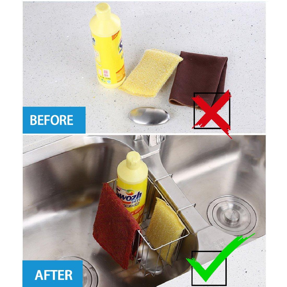 Sponge Holder, Sink Organizer Kitchen Caddy Sink Caddie Stainless ...