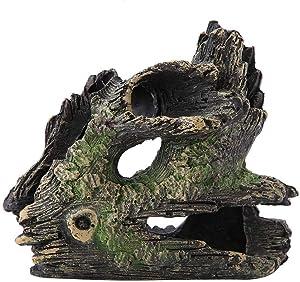 Garosa Aquarium Driftwood Artificial Resin Tree Trunk Dodge Breeding Play House Tree Roots Hollow Tree Hole for Fish Tank Ornaments