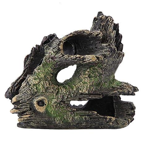 FTVOGUE Acuario Driftwood Madera Artificial Tronco de árbol Raíz Camarón Desove Terreno Cueva Tanque de Peces