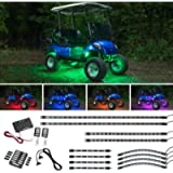 LEDGlow 12pc Million Color LED Golf Cart Underglow Accent Neon Lighting Kit with Wheel Well & Interior Lights for EZGO…