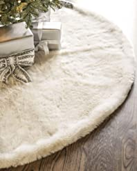 Balsam Hill Lodge Faux Fur Tree Skirt, 72 inches, Ivory White