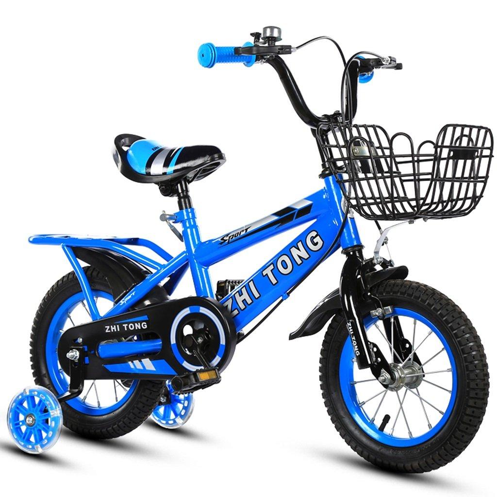 子供用自転車、男の子、女の子に適しています後部座席付きフラッシュアシストホイール高炭素スチール滑り止めタイヤ強力な安全性2-10歳88-121CM (色 : 青, サイズ さいず : 100CM) B07CWCTPMF 100CM|青 青 100CM
