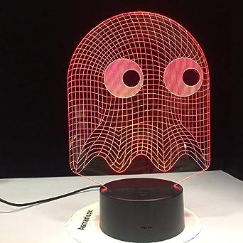Juego de arcade Pac-Man guiñando un ojo mesa de luz nocturna 3dled 7 cambio de color iluminación novedad niños regalo guisantes luz nocturna 1428: Amazon.es: Iluminación