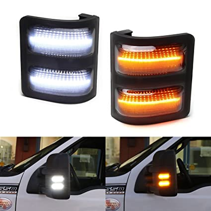 Ijdmtoy  Smoked Lens Switchback Led Side Mirror Marker Lights For