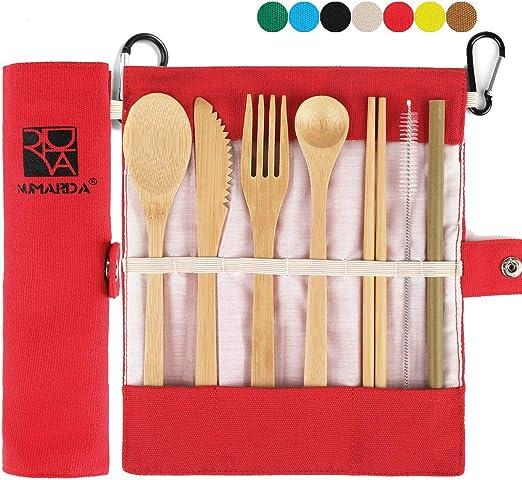 Portable Bamboo Wooden Tableware Dinnerware Travel Camp Cutlery Tool Set