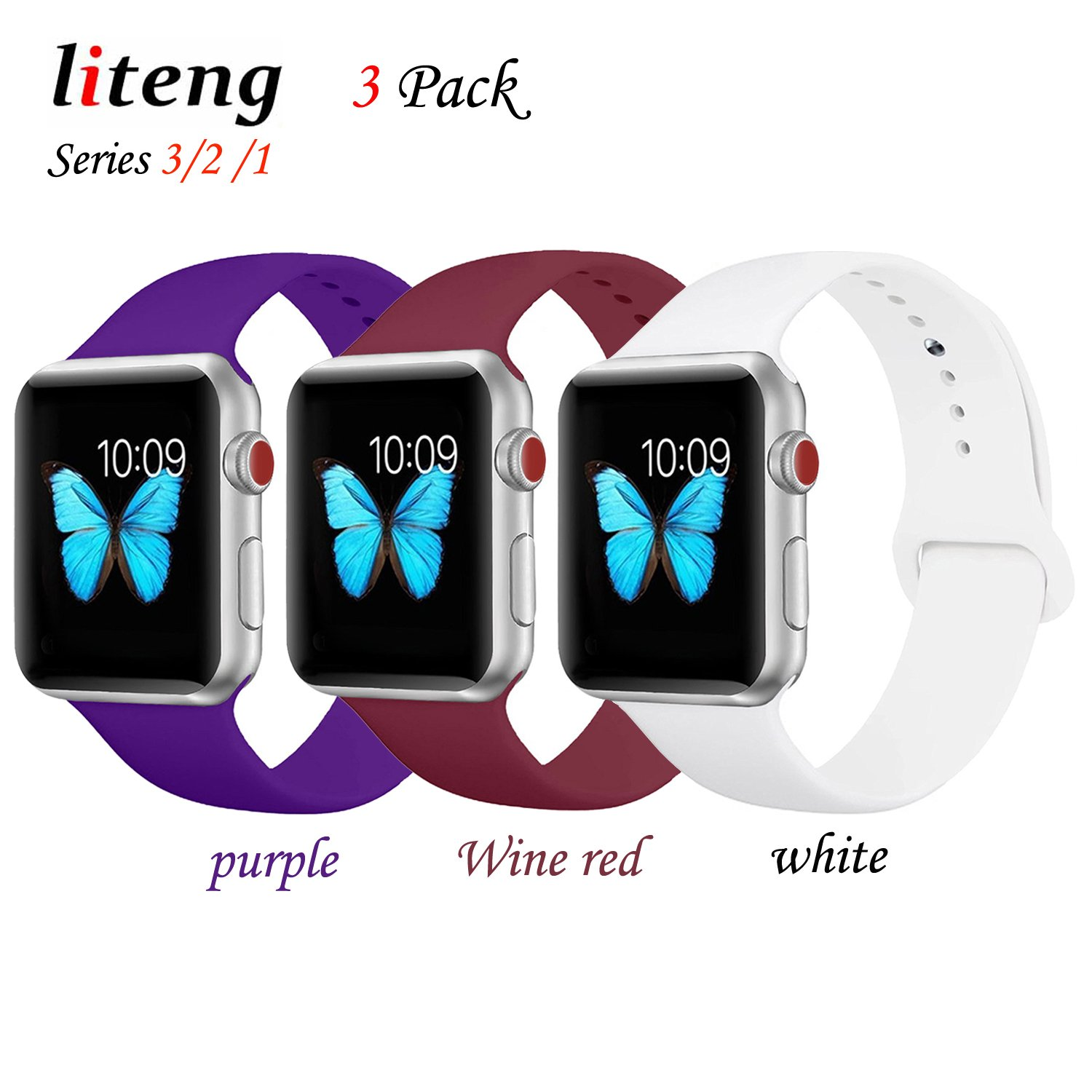 for Apple Watch Band, LITENG Durable Soft Silicone Replacement iWatch Band Sport Style Wrist Strap for Apple Watch Band 42mm Series 3 Series 2 Series 1 Sport (3 Pack(Purple+Wine red+White), 42mm S/M)