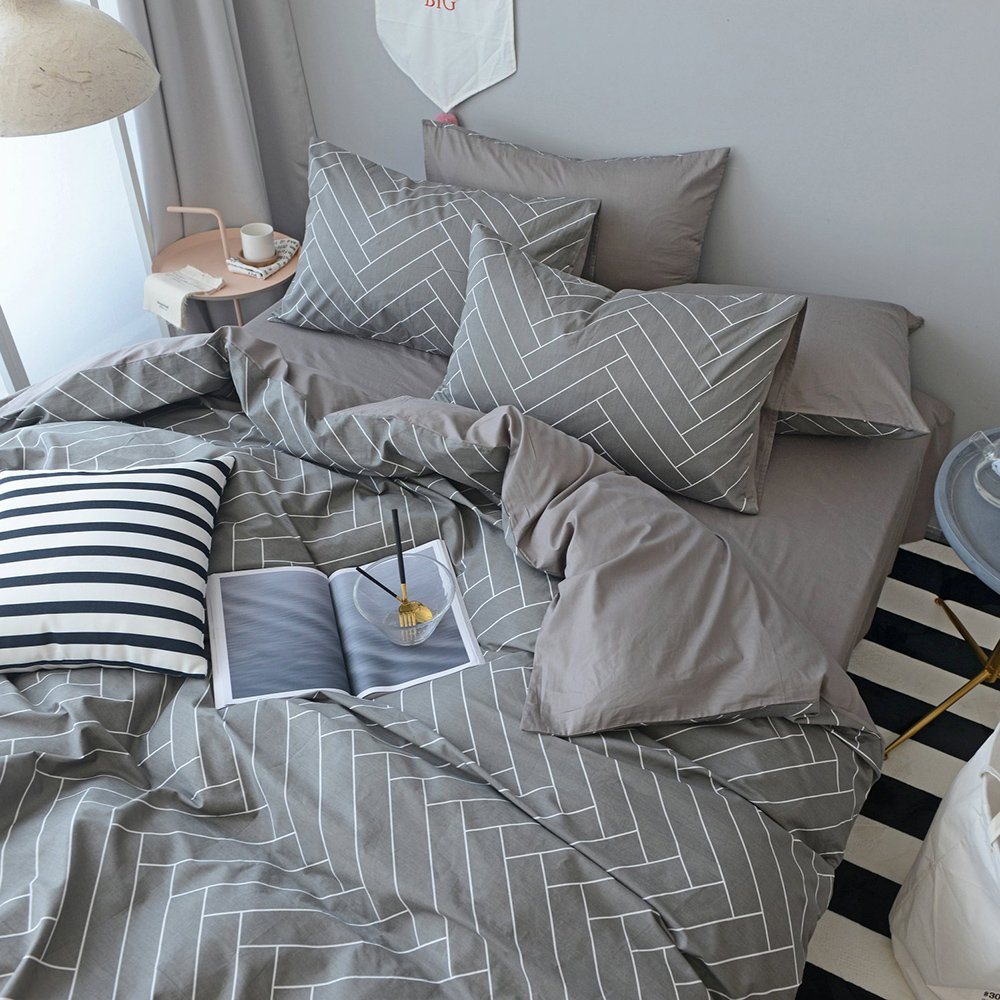 OTOB Soft Cotton Boys Teen Man Stripe Twin Bedding Duvet Cover Sets White Grey 3 Piece Casual Geometric Kids Bedding Sets with 2 Pillow Shams Reversible Lightweight(Twin, Style 1) by OTOB (Image #2)