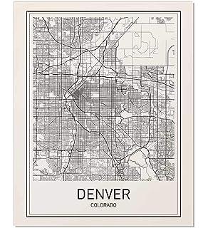 Colorado Map Art.Amazon Com Denver Neighborhoods Map Art Poster Black White 18