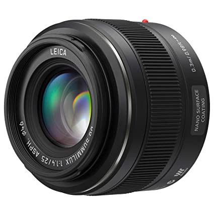 PANASONIC LUMIX G Leica DG SUMMILUX Lens, 25mm, F1 4 ASPH, Mirrorless Micro  Four Thirds, H-X025 (USA Black)