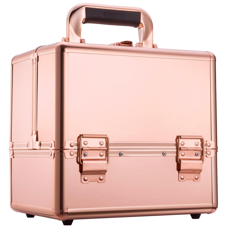 "Ollieroo Makeup Train Case Rose Gold 9.8"" Aluminum Makeup Cosmetic Artist Organizer with Lock Rose Gold Makeup Case Makeup Trunk Caboodles Cases"