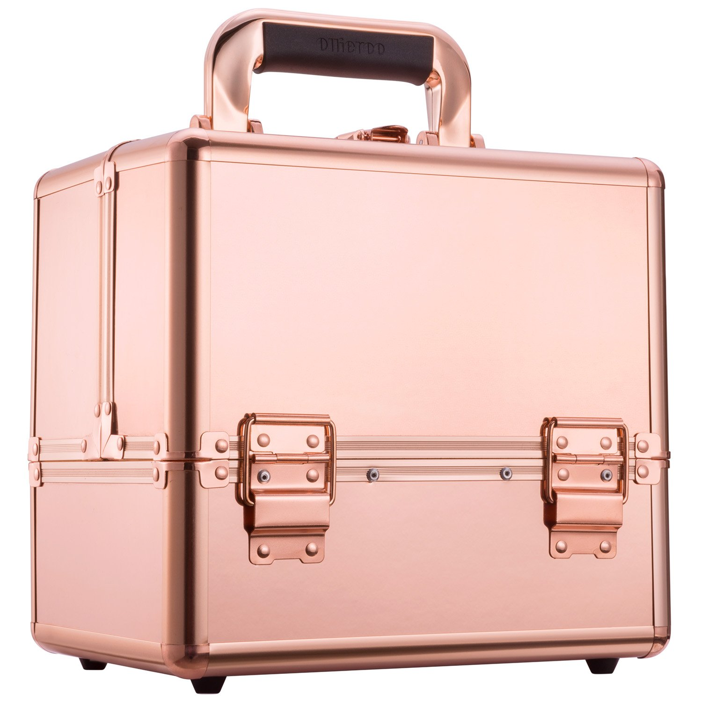 Ollieroo Makeup Train Case Rose Gold 9.8'' Aluminum Makeup Cosmetic Artist Organizer with Lock
